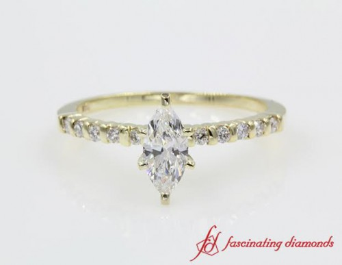 Marquise Shaped Diamond Petite Ring