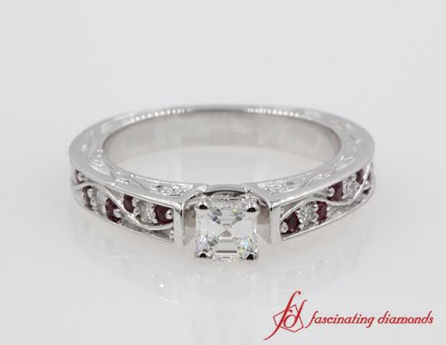 Filigree Asscher Diamond & Ruby Ring