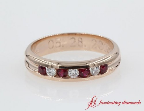 Channel Set Ruby And Diamond Gold Wedding Band