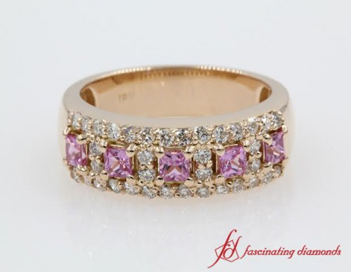 Round Cut Diamond & Princess Sapphire Band