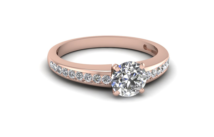 Channel Set Round Cut diamond Engagement 