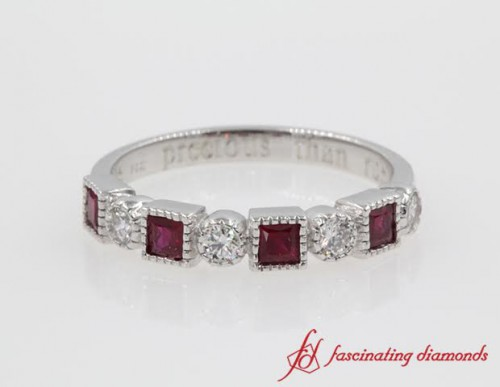 Round Diamond And Ruby Wedding Band