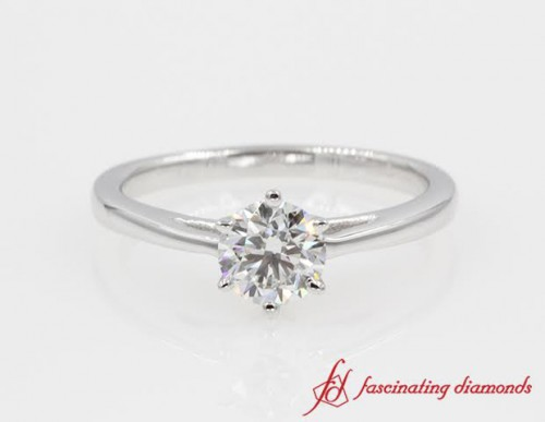 One Diamond Cathedral Engagement Ring