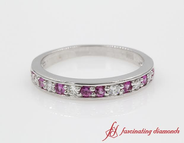 Pink Sapphire And Diamond Pave Wedding Anniversary Band For Women