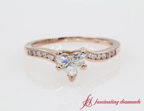 Swirl Diamond Engagement Ring Pink Gold
