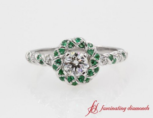 Emerald Halo & Round Diamond Ring