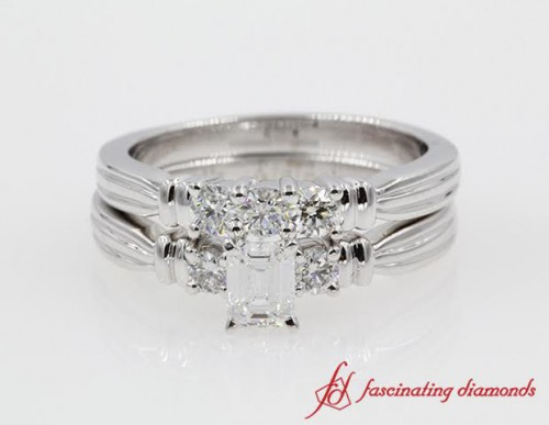 Three Stone Wedding Ring Set White Gold