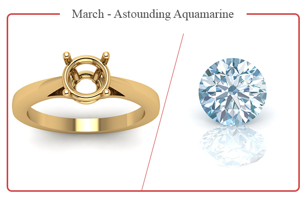 MARCH BIRTHSTONE RINGS-AQUAMARINE