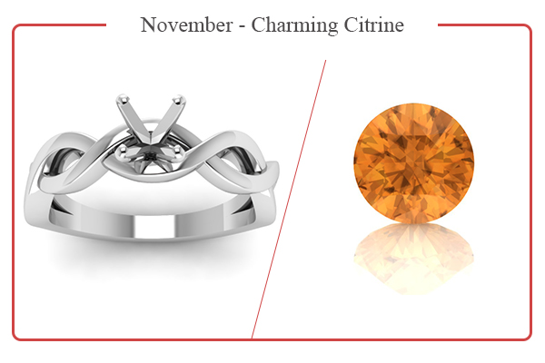 NOVEMBER BIRTHSTONE RINGS-CITRINE