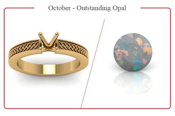 OCTOBER BIRTHSTONE RINGS-OPALS