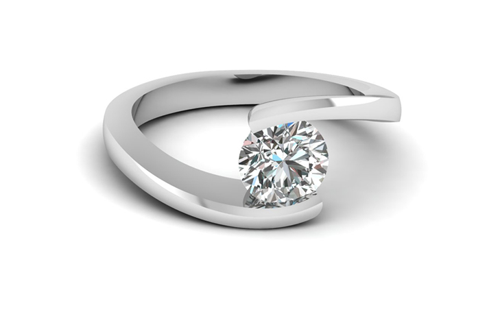 Round Solitaire Diamond Engagement Ring in White Gold