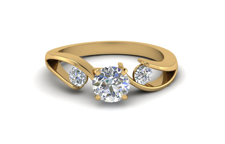 Tension Set Accent Round Cut Three 