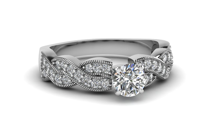 Twist Pave Diamond Round Engagement 
