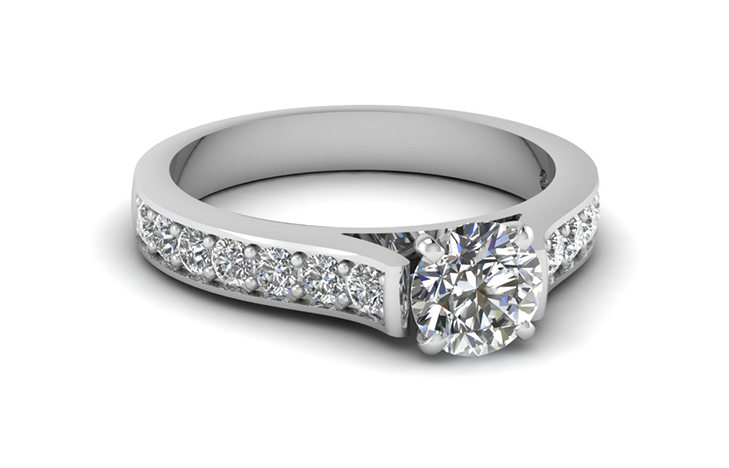 White Gold Pave Round Diamond 