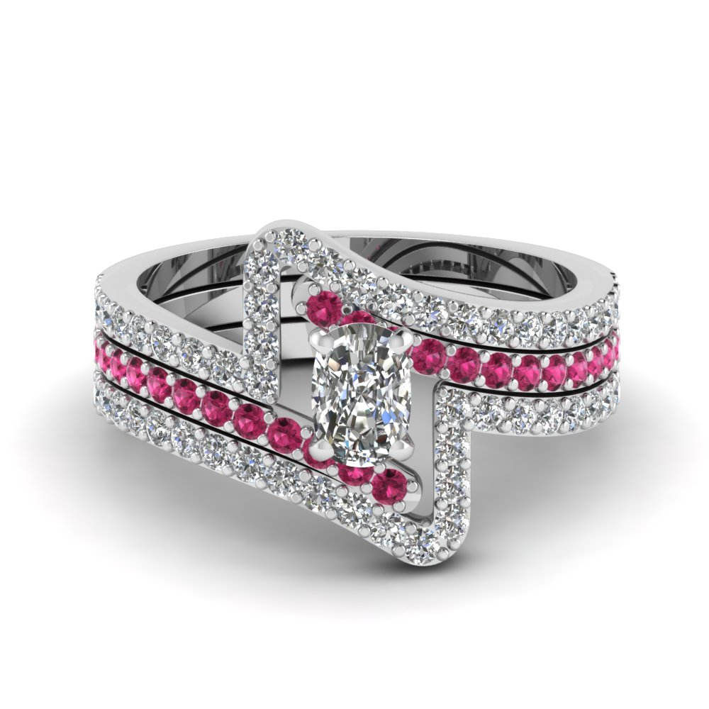 Shop for latest twist swirl engagement rings at for Sapphire wedding ring sets