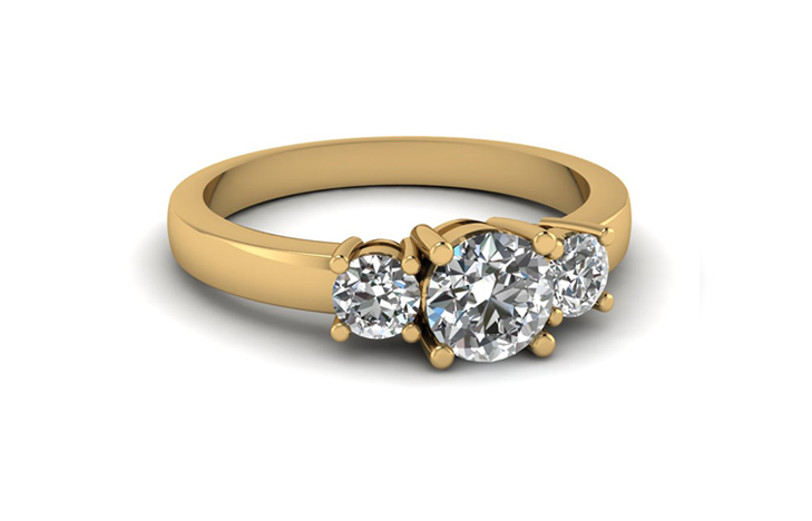Round Cut Three Stone Engagement 