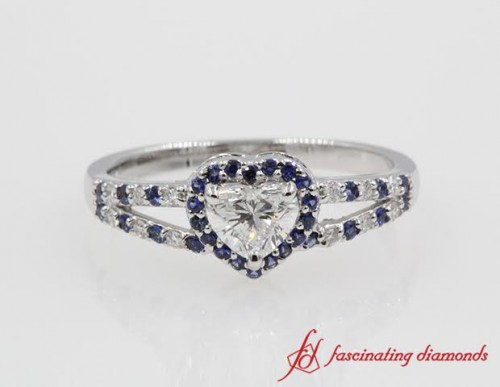Halo Heart Diamond And Sapphire Ring