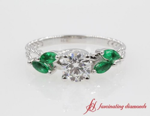 Unique Rope Style Natural Emerald Ring