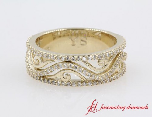 Wide Filigree Diamond Wedding Band