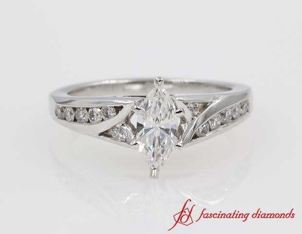 Channel Set Marquise Diamond Engagement Ring