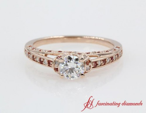 Pink Gold Round Diamond Ring