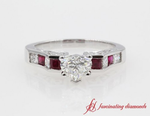 Heart Diamond With Ruby Ring