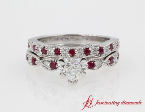 Ruby And Diamond With Heart Shaped Vintage Looking Bridal Sets