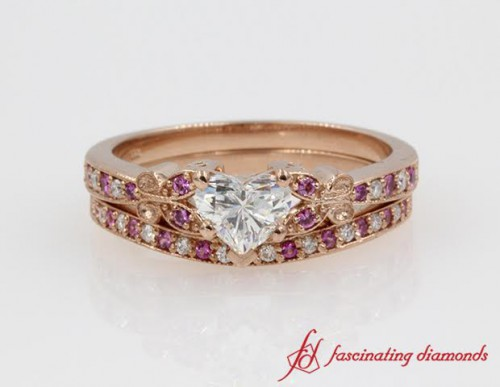 Butterfly wedding ring set
