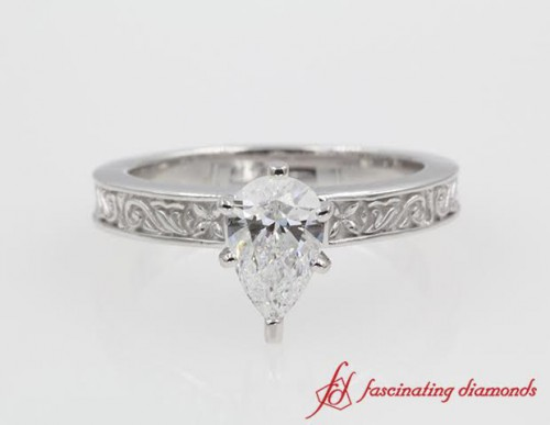 Solitaire Filigree Pear Diamond Ring