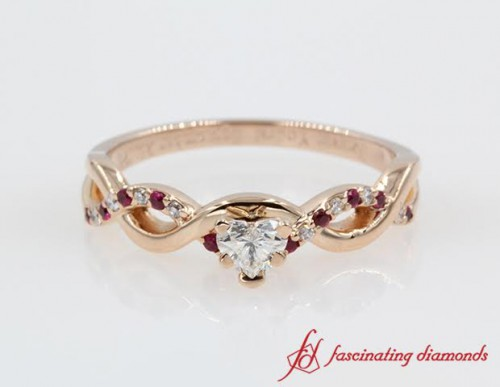 Twist Style Heart Diamond Ring with Rubies