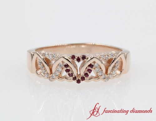 Interlinked Heart Design Wide Diamond with Ruby Wedding Band in 14k Rose Gold