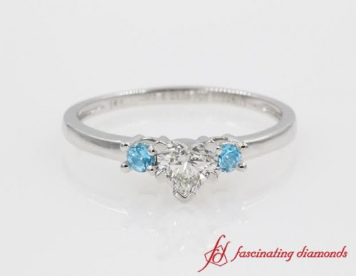 Heart Diamond And Topaz 3 Stone Ring