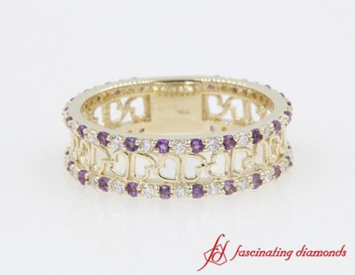 Heart Design Wide Diamond with purple Topaz Wedding Band in 14k Yellow Gold