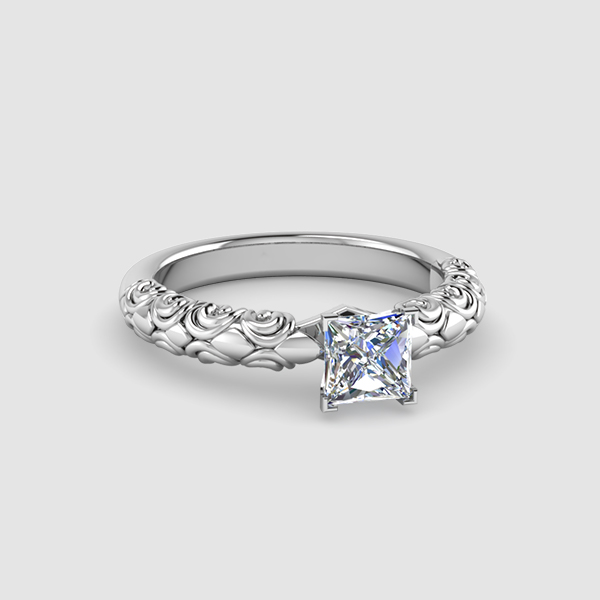 square cut engagement ring - Square Cut Wedding Rings