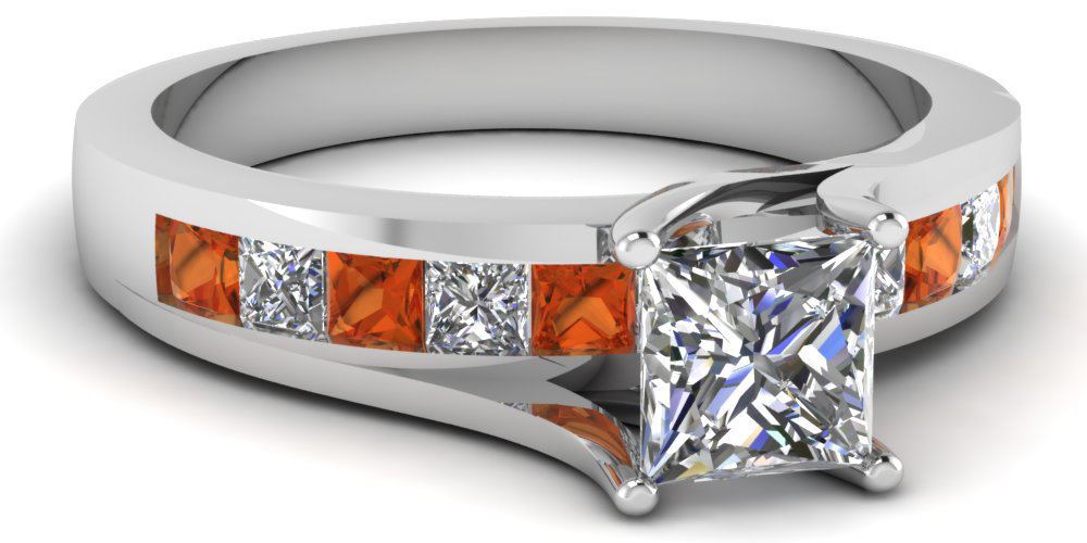 Princess Cut Side Stone Engagement Rings Style