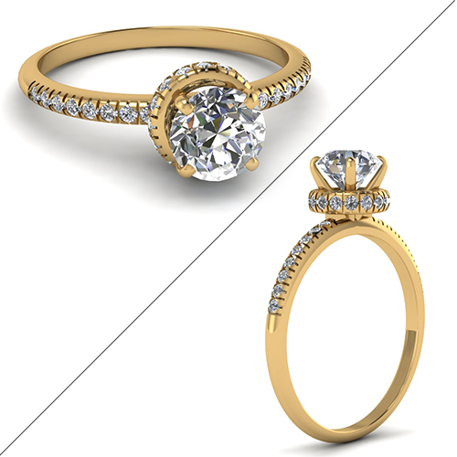 French Prong Crown Round Diamond Ring