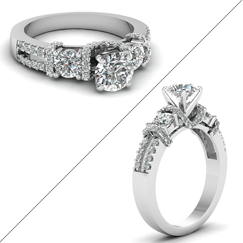 Diamond Accented U prong Ring