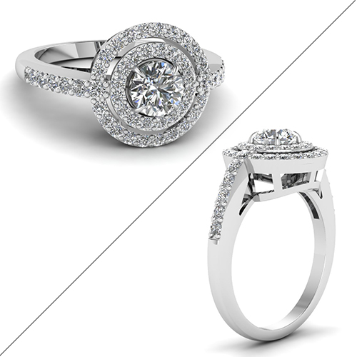 Double Halo French Prong Diamond Ring