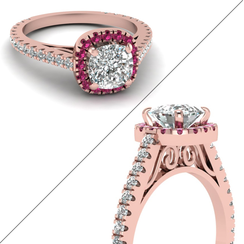 Accented Halo Floating Prong diamond Ring