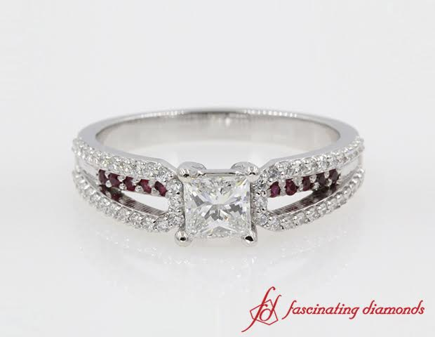 Loop Design Diamond Accent Engagement Ring