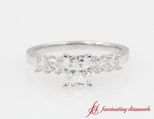 Cushion & Princess Cut 7 Stone Diamond Engagement Ring in 14K White Gold
