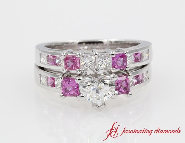 Channel Accent Diamond Heart Shaped Wedding Ring Sets