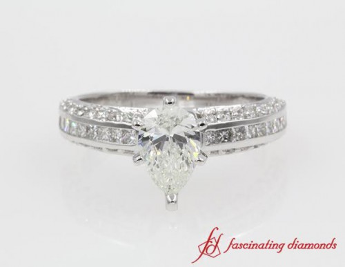 Princess And Round Diamond Engagement Ring
