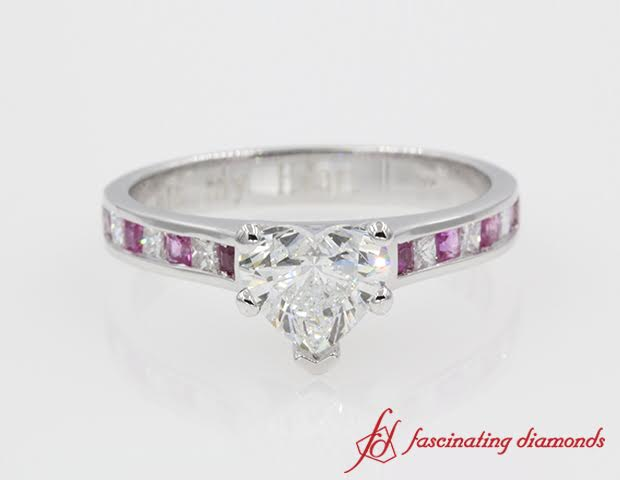 Heart Shaped Gold Side Stone Engagement Ring