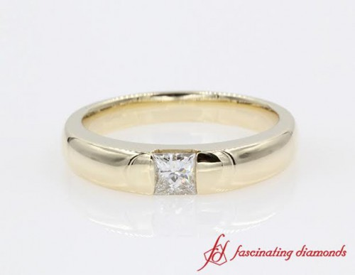 Half Bezel Solitaire Princess Cut Engagement Ring in 14K Yellow Gold