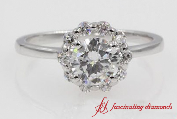 Floral Round Diamond Halo Ring