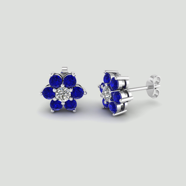blue diamond earrings the america s created v sapphire zales mens in store stud jewelry white gold since shop lab cut best for cushion