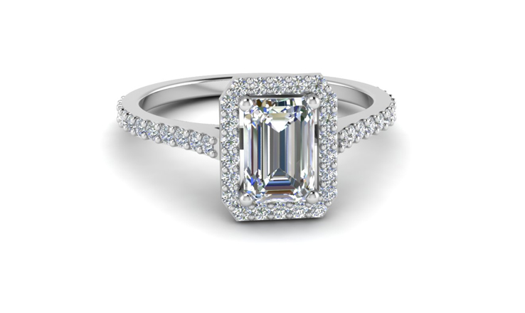 emerald cut halo engagement rings style - Emerald Cut Wedding Rings
