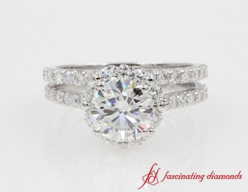 Floral Halo Round Diamond Wedding Ring Set in 14K White Gold