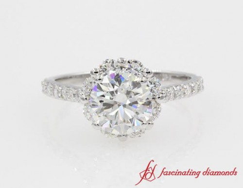 Floral Halo Round Diamond Engagement Ring in 14K White Gold